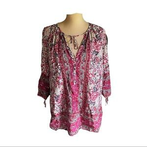 Lucky Brand Tie Sleeve Peasant Blouse